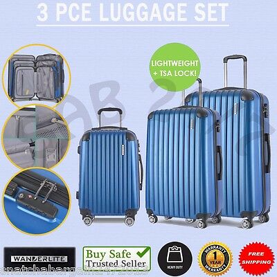 3 X WANDERLITE Wheel Travel Carry On Luggage Suitcase Case Security Lock Blue