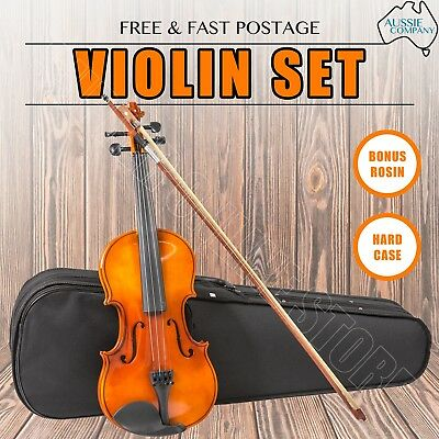 Wooden Fiddle Violin Full Size 4/4 Artist Acoustic Set Bow Rosin Strings W/ Case