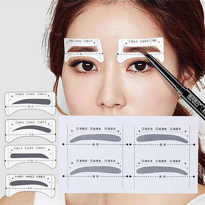 8Pairs Template Eyebrow Drawing Card Stickers Brow Stencil Grooming Make Up Tool