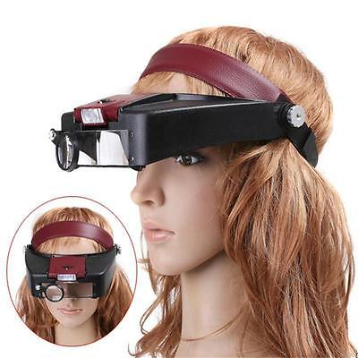 10X Power Headband Visor Magnifier LED Lighted Magnifying Loupe Jewelry repair H