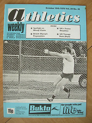 ATHLETICS WEEKLY OCTOBER 18th 1975 PAUL DICKENSON UK HAMMER THROWER
