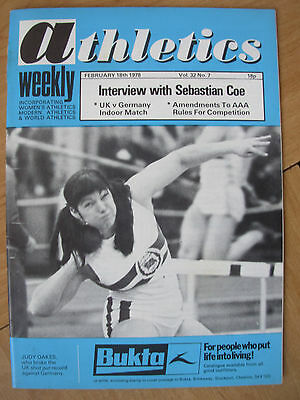ATHLETICS WEEKLY FEBRUARY 18th 1978 JUDY OAKES SHOT PUT