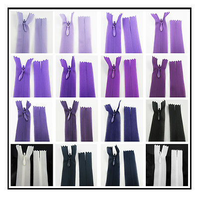 "No.3 CONCEALED 5"" - 30"" CLOSED END NYLON ZIPS PURPLE HABERDASHERY ZIPPER SEWING"