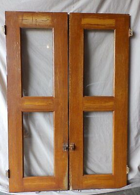 Pair Antique Cabinet Pantry Door Kitchen Cupboard Glass Old Vtg 52x15 228-17R