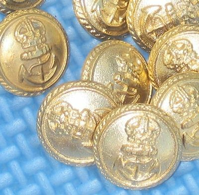 Relief Crown and ANCHOR Set 12 Military Style vtg New Gold METAL Buttons 5/8""