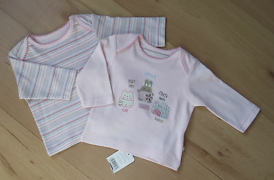 BNWT Baby Girls Clothes Tiny/New Baby MOTHERCARE 2x Cotton Long Sleeved Tops Set