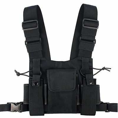 Lewong Universal Radio Chest Harness Bag Pocket Pack Holster  for Two Way Radio