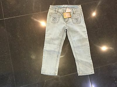 NWT Juicy Couture New Girls Age 8 Blue Cotton Crop Leg Trousers With Juicy Logo