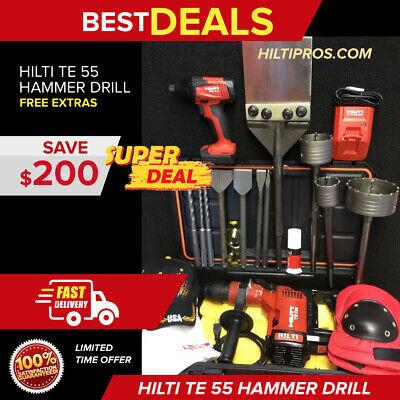 Hilti Te 55 Hammer Drill, Preowned, Free Hilti Sid 2-A Driver, Extras, Fast Ship
