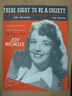 Vintage Sheet Music - There Ought To Be A Society - Joy Nichols