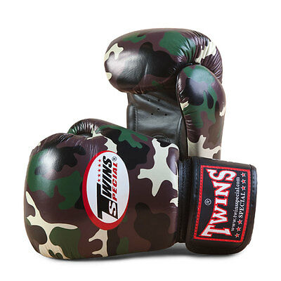 Twins Army Camo Boxing Gloves Muay Thai Boxing Gloves Leather UK Seller