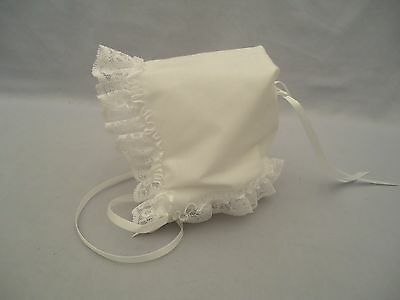 NOS NWOT Vintage Baby or Doll Bonnet White w/ Lace & Ribbon Made in USA