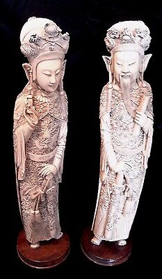 Fantastic Pr. of intricately Carved CHINESE EMPEROR & EMPRESS STATUES