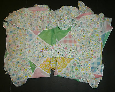 """2 Pairs Vintage Sears Bloomin' Patch Curtains Flowers Gingham Check 79"""" x 51"""""""
