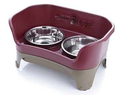Neater Feeder Express Pet Food & Water Bowls - Cats and Small Dogs - Cranberry