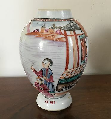 Antique 18th century Chinese Export Porcelain Vase Famille Rose Tea Caddy 1780