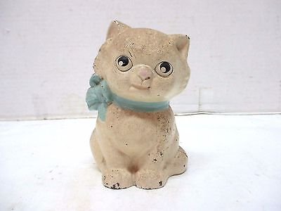Vintage Painted White With Blue Bow Cast Iron Cat Kitten Bank Screw Back Opening