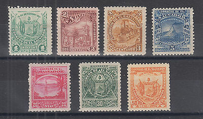 Salvador Sc 157B//157N MLH. 1896 Pictorials, unwatermarked, 7 different F-VF