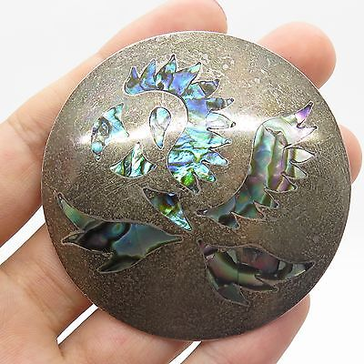 Vtg Mexico 925 Sterling Silver Abalone Shell Large Tribal Handmade Pin Brooch