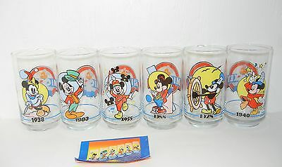 Vintage Set Of 6 Commemorative Mickey Mouse Glasses From Sunoco - 1988