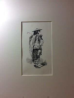 Pen & ink drawing of man dressed very differently