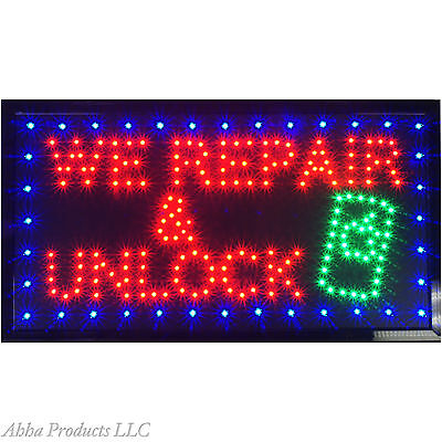 """24x13"""" We Repair & Unlock Cell Phones Iphone Android LED Open Business Sign neon"""