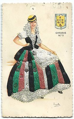 Spanish Embroidered Postcard- Flamenco Dancer, Appliqué Stitching, Canarias, 50s