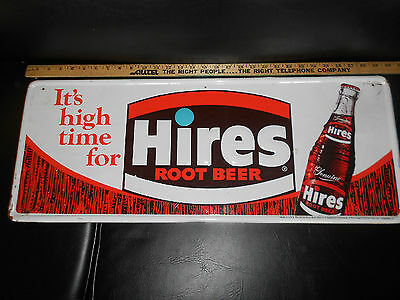 Vintage Hires Root Beer Soda Pop Embossed Tin Sign It's High Time