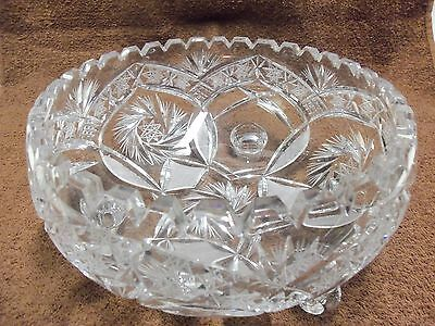 Antique Cut Glass Crystal Bowl