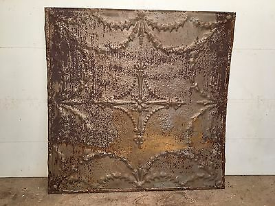 "1 - 24"" x 24"" Antique Ceiling Tin Tile Vintage Reclaimed Salvage Re Purpose Art"