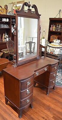 "Vintage VANITY Tilt Mirror 7 Drawers WOOD Dove Tail 46"" Wide Antique Dresser"