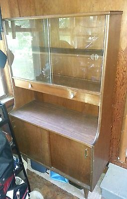 VINTAGE MID CENTURY Hutch Curio Sideboard Buffet Sliding glass doors Solid wood