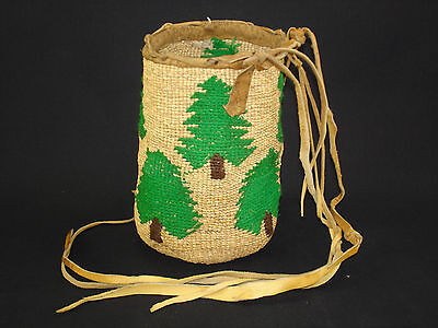 Colorful Plateau round carry bag with trees, Native American Indian, Circa: 1910