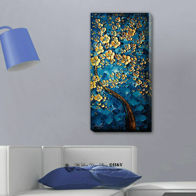 Blue Flower Tree Stretched Canvas Print Framed Wall Art Home Decor Painting Gift