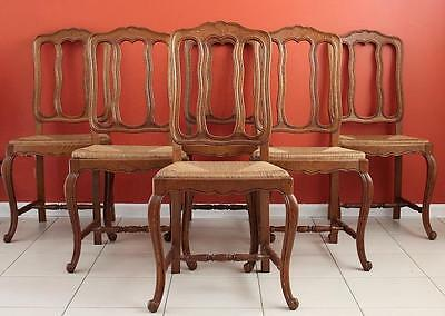 Vintage French Louis XV /Provincial Dining Kitchen Chairs in Oak Set of 6