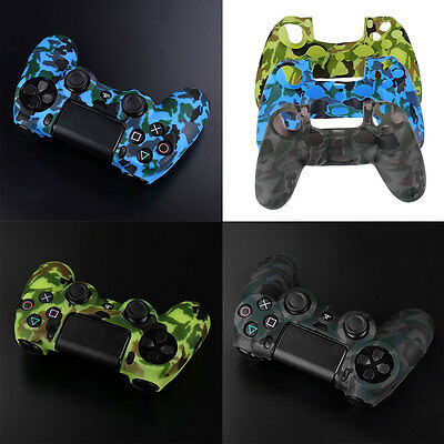 Camouflage Silicone Rubber Soft Skin Cover Case For Playstation 4 PS4 Controller