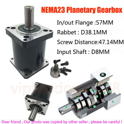 Nema23 Gearbox Stepper Planetary Reducer 5/10/15/20/30/50/100:1 for Automation