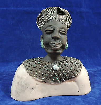 South African Traditional Zulu Man Bust Sculpture by Zulu Lulu