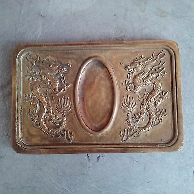 China antique double dragons and quote brass carved ink inkstone 双龙和名言黄铜雕墨砚