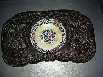 China Carved 2 fairy rosewood with small porcelain plate writing brush washer
