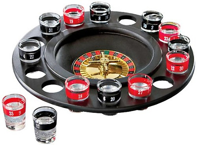 Shot Glass Roulette Drinking Game - Includes 16 Shot Glasses, Spinning Wheel and