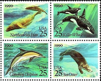 1990 25c Sea Creatures, Killer Whale, Block of 4 Scott 2508-11 Mint F/VF NH