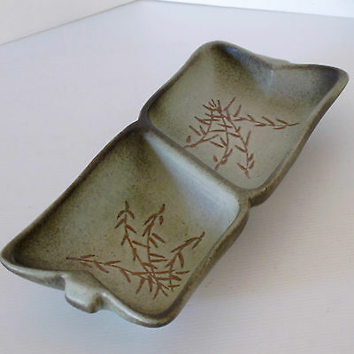 Ellis Pottery Double Server Dish in Red Clay, Shape 74 with Wheat Motif c.1970s