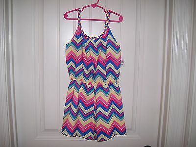 Nwt Lilt Girls Chevron Design Colorful Romper Size 10/12 Retail Tag $26