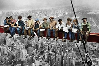 """Lunch Atop A Skyscraper Poster """"new York Construction Workers Lunching"""" Colour"""