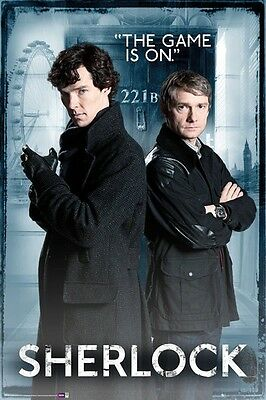 """SHERLOCK laminated POSTER """"THE GAME IS ON"""" LICENSED """"BRAND NEW"""""""