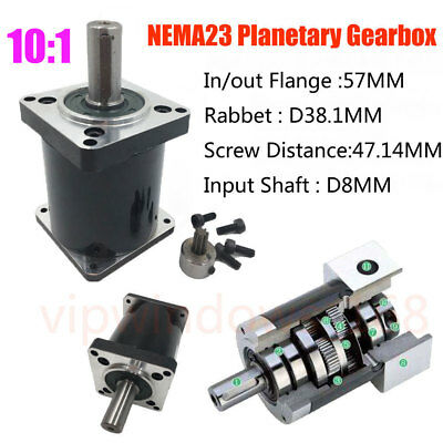 Planetary Gear Ratio 10:1 Nema23 L53mm Output Shaft 14mm Gearbox Reducer