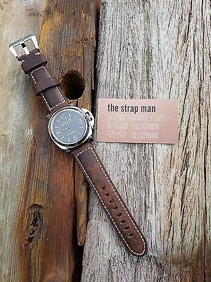 Dark Brown Vintage Calf Leather Watch Strap for Panerai 24/22mm w/ Pre-V Buckle