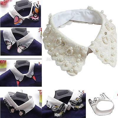Lady Women Detachable Peter Pan Lapel Fake Collar Shirt Blouse False Collar Bibs