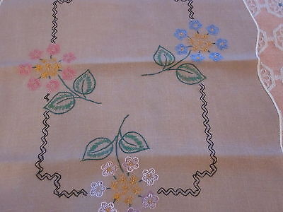 Vintage brown floral embroidered linen table runner 14x36